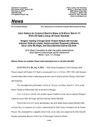 2016 Chicago Bach Project press release