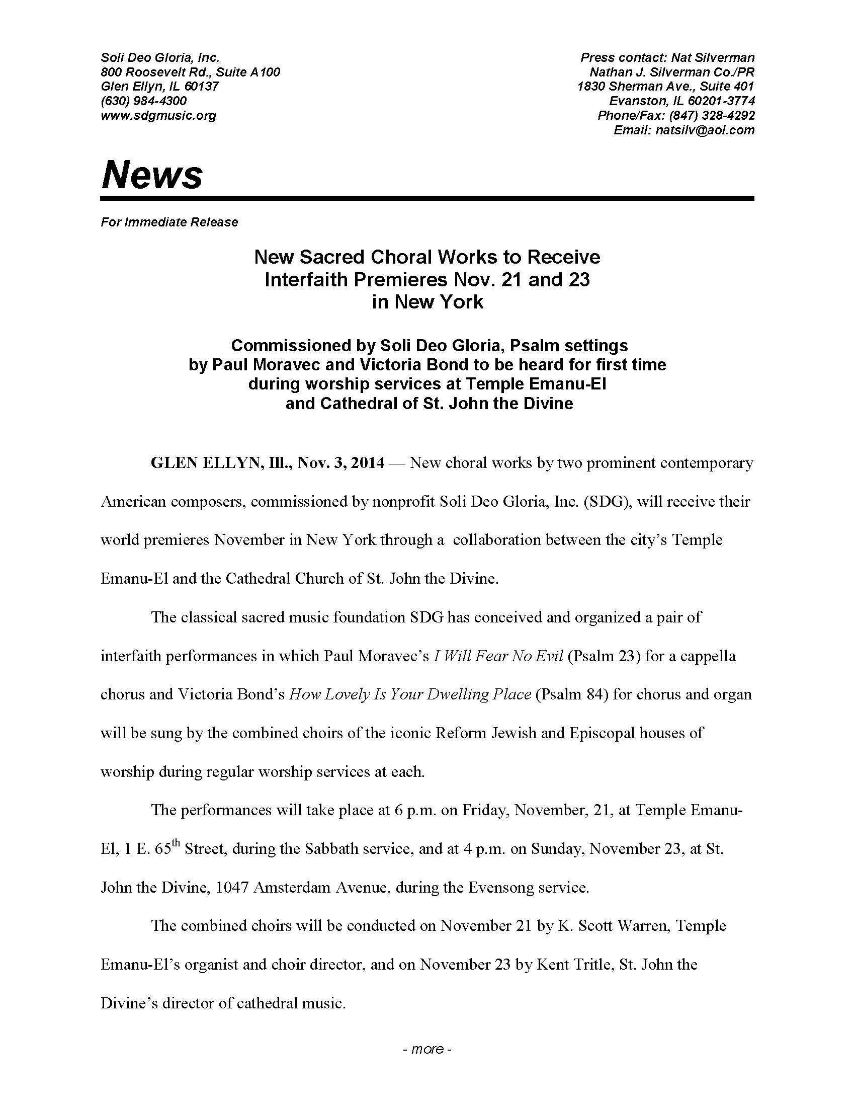 NYC Psalms Project press release